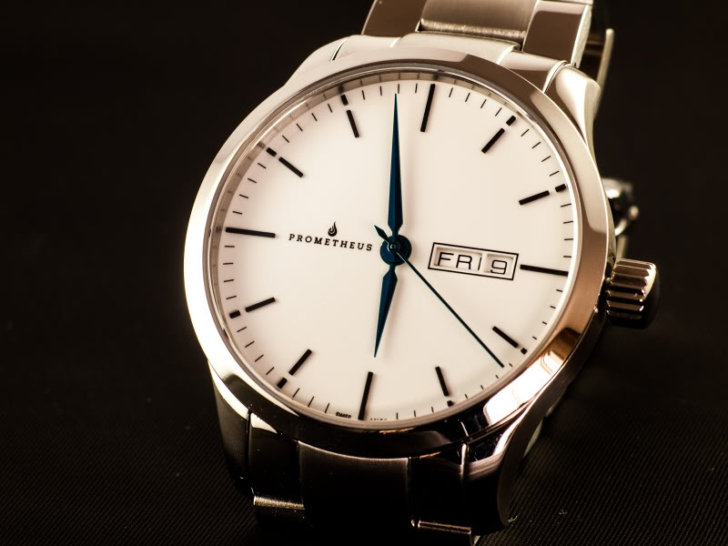 Prometheus Signatura Swiss Made Automatic Watch Enamel White Dial Day/Date