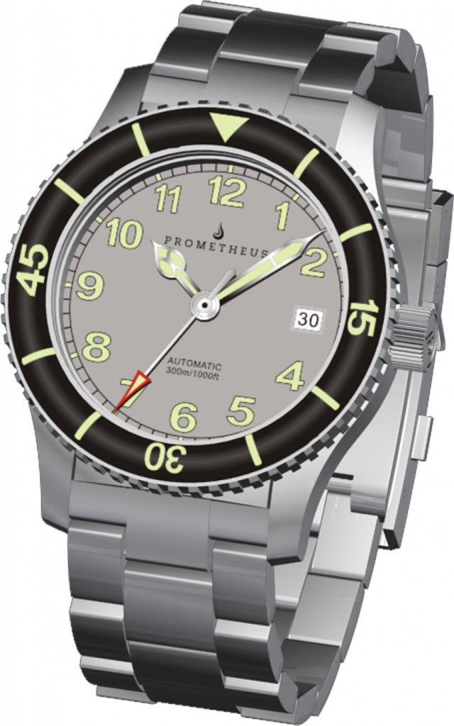 3D Renders of the Prometheus Sailfish Grey Dial Automatic Diver Watch with Sapphire Bezel