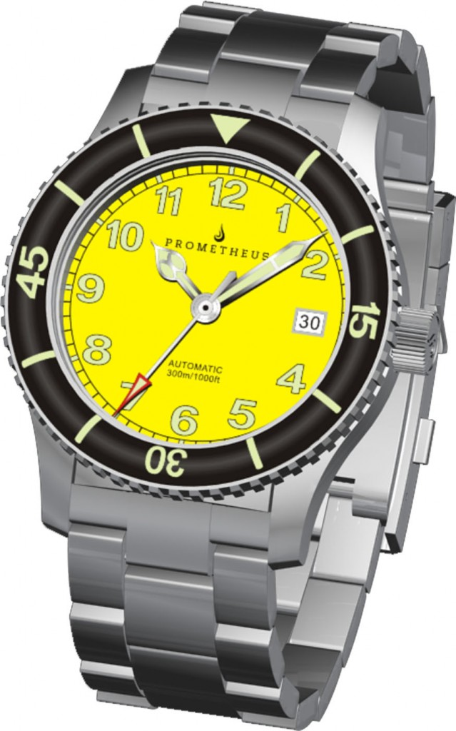 3D Renders of the Prometheus Sailfish Yellow Dial Automatic Diver Watch with Sapphire Bezel