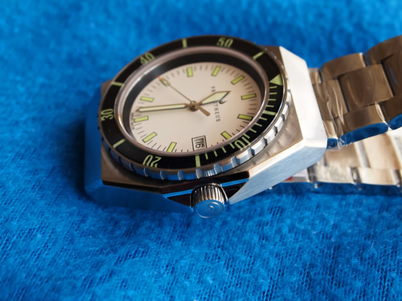 Prometheus Trireme Swiss Made Automatic Diver Watch Sapphire Bezel with White Dial Sword Hands