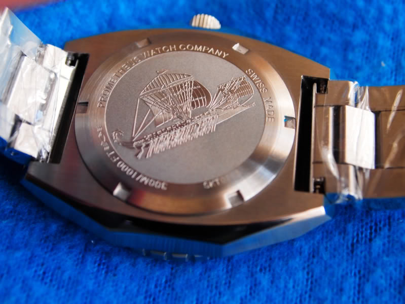Prometheus Trireme Swiss Made Automatic Diver Watch Engraved Caseback
