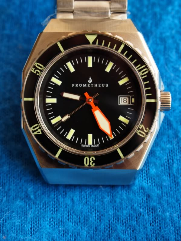 Prometheus Trireme Swiss Made Automatic Diver Watch Sapphire Bezel with White Dial Plongeur Hands