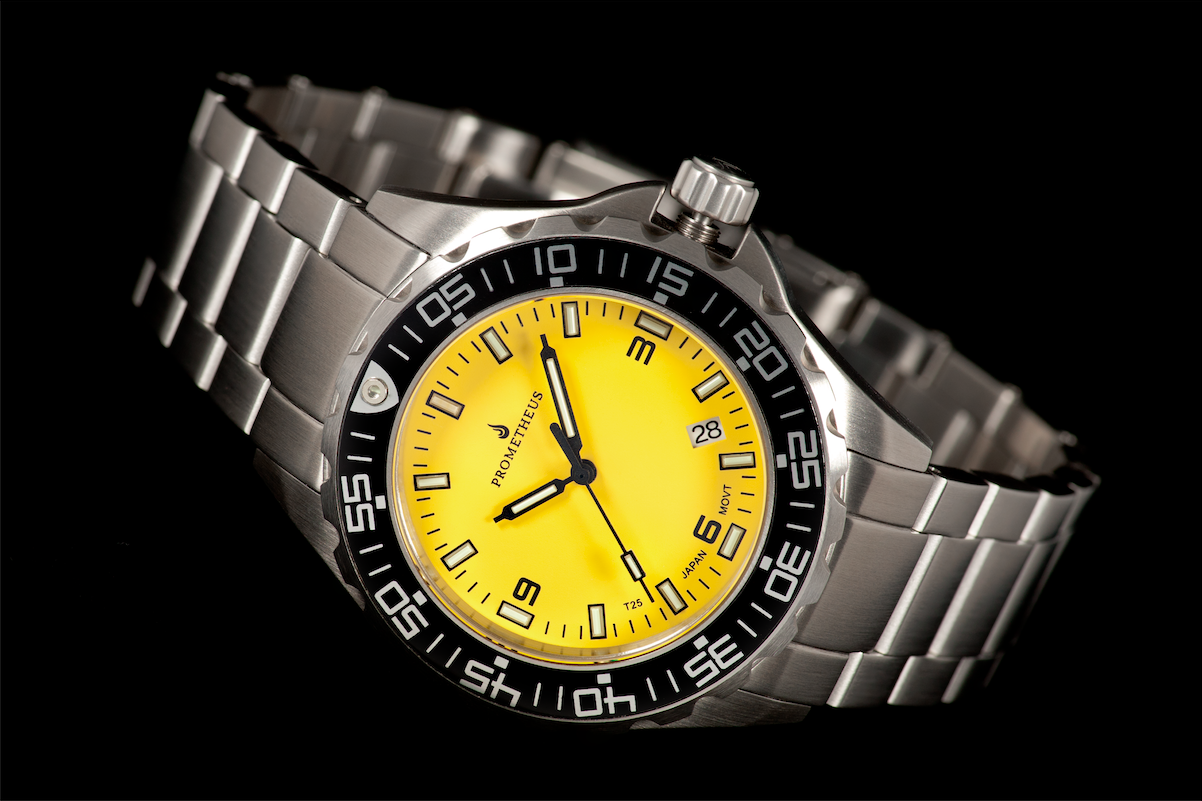 Prometheus Watch Company Jellyfish Diver Automatic Mens Diver Watch Yellow Dial