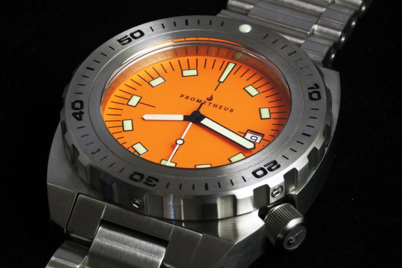 Swiss Made Prometheus Manta Ray Mens Diver Watch Orange Dial 1D