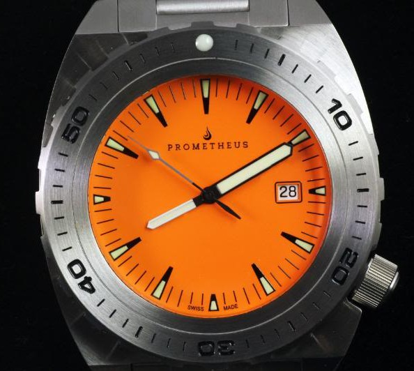 Swiss Made Prometheus Manta Ray Mens Diver Watch Orange Dial 1O
