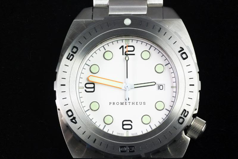 Swiss Made Prometheus Manta Ray Men's Diver Watch White Dial 1R