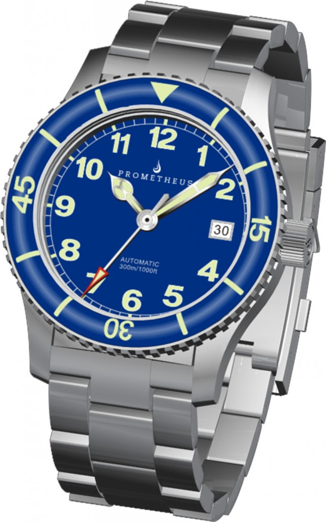 3D Renders of the Prometheus Sailfish Blue Dial Automatic Diver Watch with Sapphire Bezel